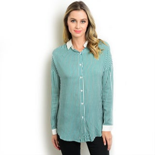 Shop the Trends Women's Navy Rayon Long Sleeve Button Down Shirt With Striped Print and Solid Collared Neckline