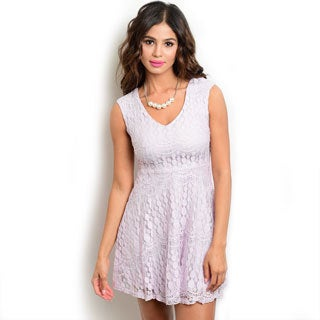 Shop The Trends Women's Lilac Lace Sleeveless A-line Dress