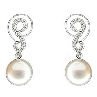 Sonia Bitton 14-karat White Gold Diamond and Pearl Earrings