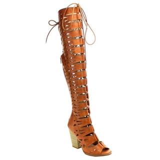 Beston EC28 Women's Tan and Beige Lace-up Knee-high Heels