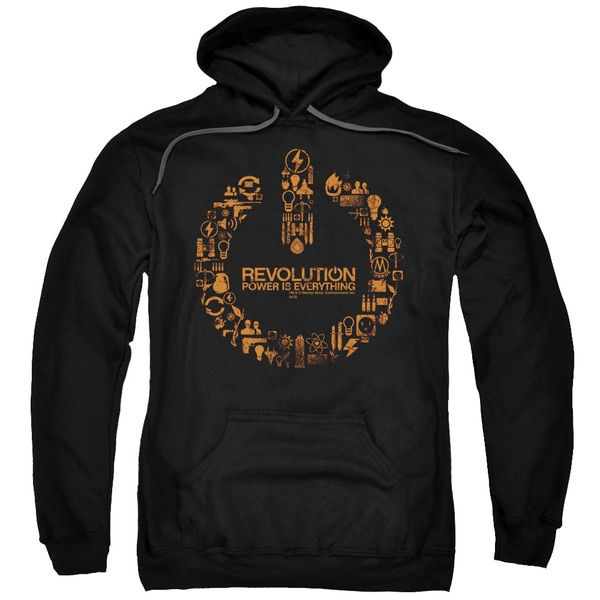 Revolution/Power Logo Adult Pull-Over Hoodie in Black