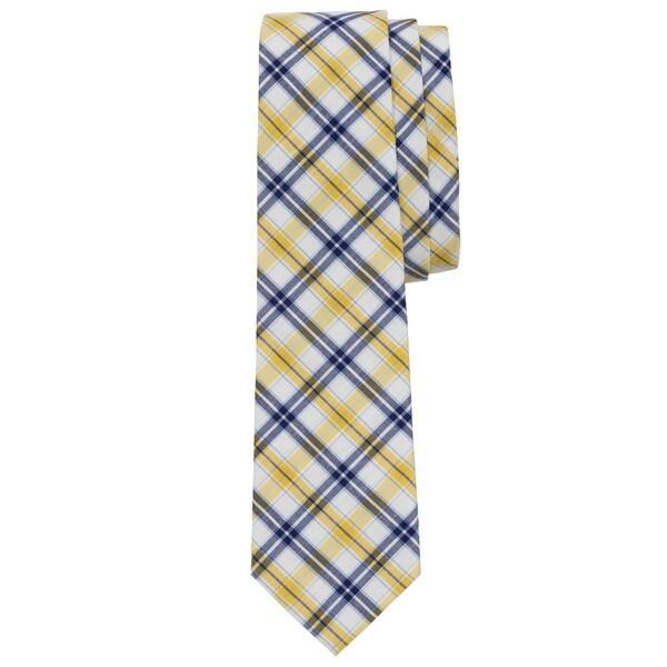 Windowpane Checkered Yellow/Navy Cotton Tie