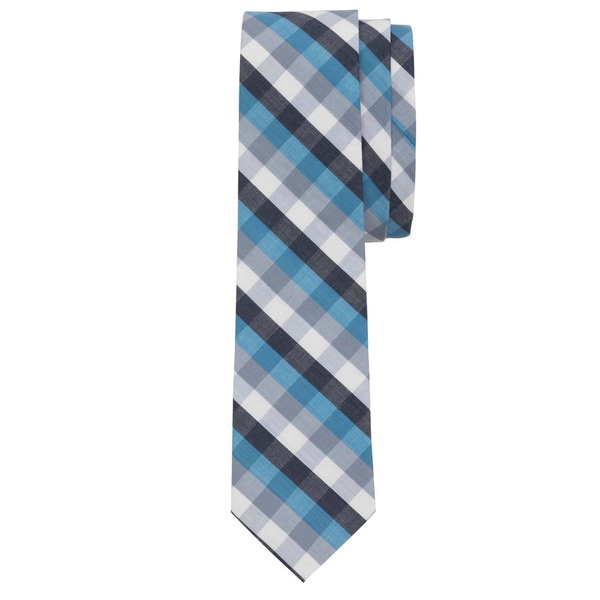 Pool Blue Picnic Plaid Tie