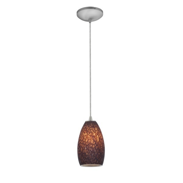 Access Lighting Champagne Steel LED Cord Pendant, Brown Stone Shade