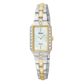 Seiko Women's SUP234 Mother of Pearl Dial Two Tone Strap Stainless Steel Solar Water Resistant Watch
