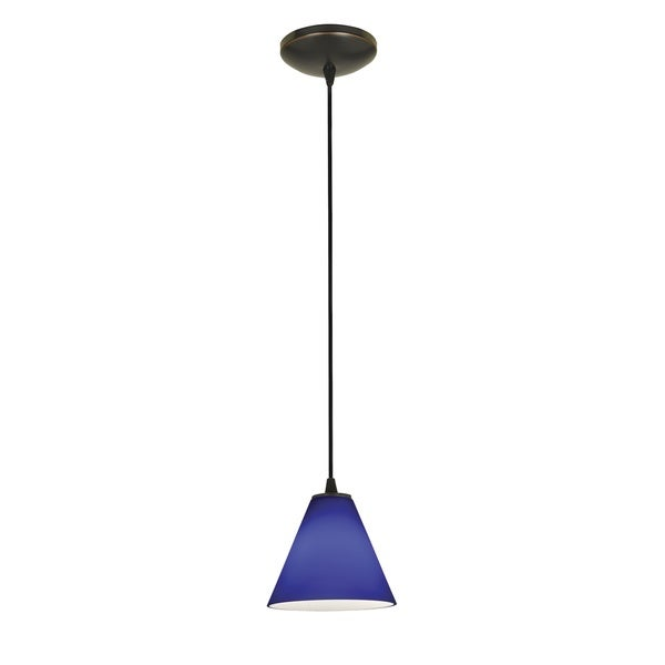 Access Lighting Martini Bronze Integrated LED Cord Pendant, Cobalt Shade