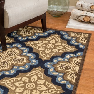 Christopher Knight Home Roxanne Faye Indoor/Outdoor Blue Floral Rug (5' x 7')