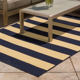 Christopher Knight Home Roxanne Avery Indoor/Outdoor Navy Stripe Rug (7' x 10')