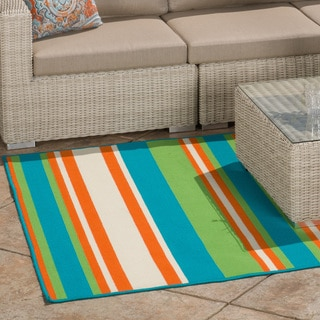 Christopher Knight Home Roxanne Abby Indoor/Outdoor Turquoise Stripe Rug (5' x 8')