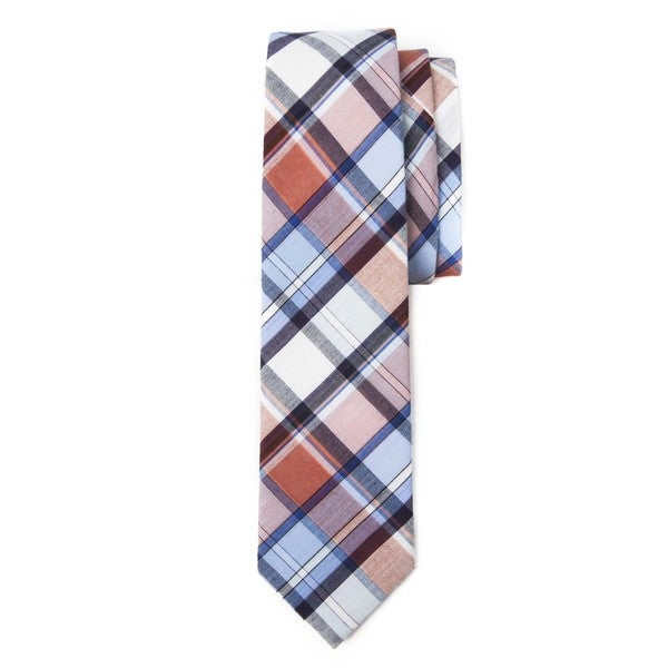Preppy Blue and Orange Plaid Tie