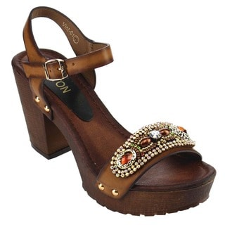Beston EB36 Women Beads Studded Platform Buckled Chunky Heel