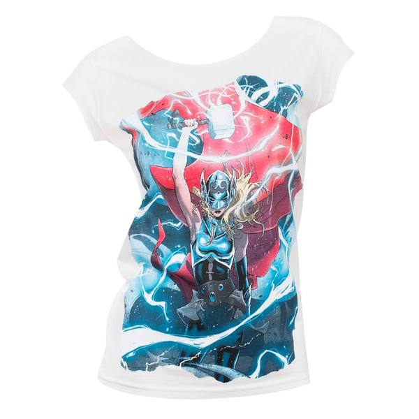 Women's Female Thor Electricity White Cotton T-shirt