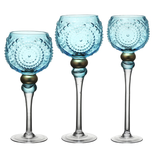 Set of 3 Blue Glass 5-inch x 5-inch x 16-inch(L) 5-inch x 5-inch x 14-inch(M) and 5-inch x 5-inch x 12-inch(S) Candle Holders