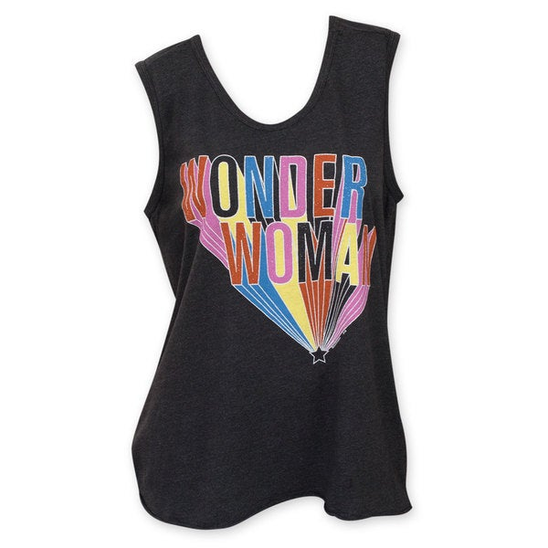 Junk Food Women's Black Wonder Woman Cotton and Polyester Round-neck Tank Top 18704155