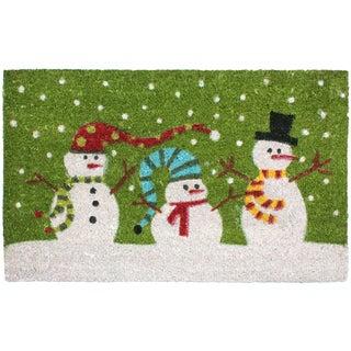 J & M Home Fashions 3 Snowman Vinyl-back Coco 18-inch x 30-inch Doormat