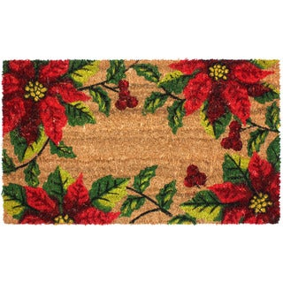 J & M Home Fashions 'Christmas Poinsettia' 18-inch x 30-inch Doormat With Vinyl Back