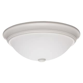 Lithonia Lighting Essentials Decor White Metal and Glass 10-inch Round LED Flush Mount