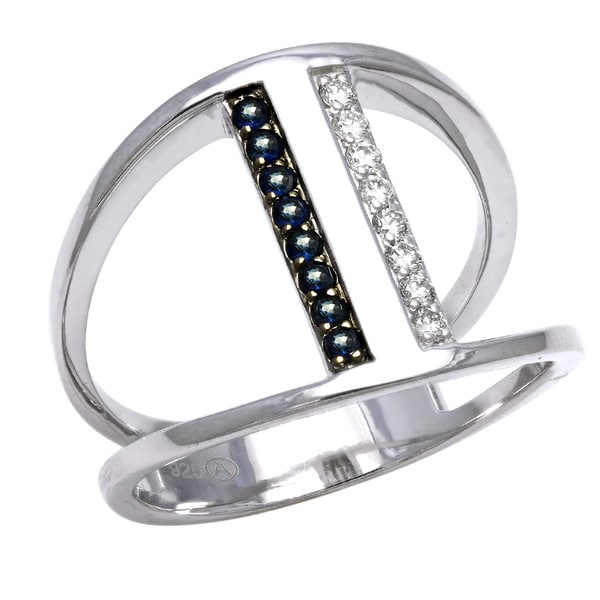 Beverly Hills Charm Sterling Silver 1/8ct TDW Diamond and Blue Sapphire Wide Bar Ring (H-I, SI2-I1)