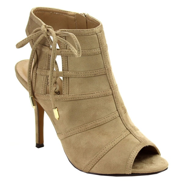 Beston Imported Women's Faux Suede Lace-up Heels