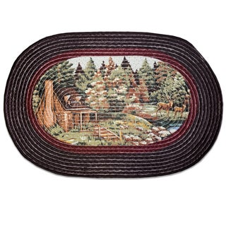Summer Cabin Multicolored Oval Rug (20 inches x 30 inches)