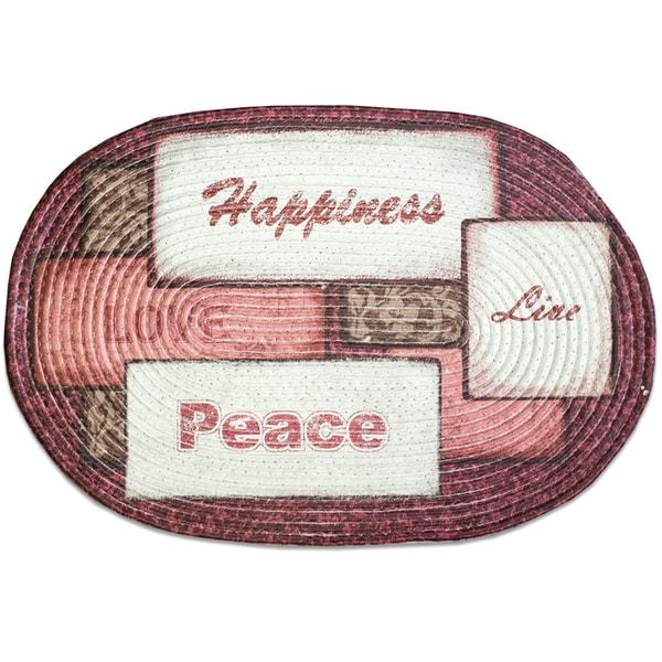 Live, Love, Peace and Happiness Multicolor Braided Rug (20 inches x 30 inches)