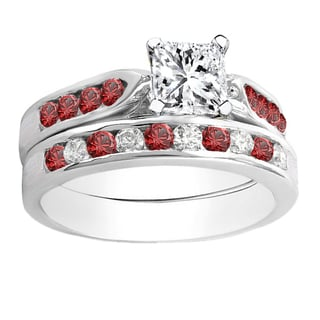 14k Gold 1ct TDW Princess and Round Diamond and Ruby Bridal Engagement Ring Set (H-I, I1-I2)