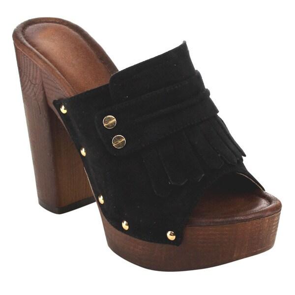 Beston Women's Faux Suede Studded Chunky Heels