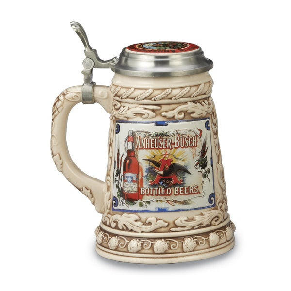 Versil Anheuser-Busch Tan Stoneware Mug with Removeable Pewter Lid 18704865