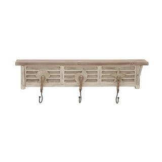 Off-white Wood Nautical-theme Wall Shelf with Hooks