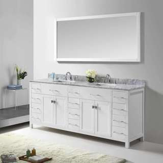 Virtu USA Caroline Parkway 72-inch Square Double Bathroom Vanity Set with Faucets