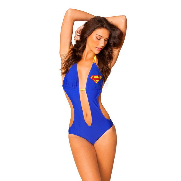Women's Superman Blue Lycra Knot Plunge Monokini Swimsuit