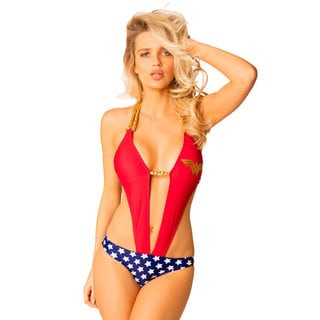 Women's Wonder Woman Red Lycra Plunge Monokini