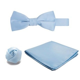 Jacob Alexander Boy's Microfiber Pre-tied Banded Bowtie, Hanky and Rose Lapel Flower 3-piece Set