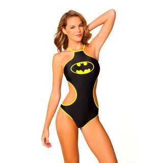 Women's Black Lycra Batman Logo High-neck Monokini Swimsuit