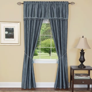 Blue Polyester 55-inch x 84-inch 5 Piece Embossed Leaf Curtain Set
