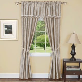 Complete Embossed Leaf Tan Polyester 5-piece Curtain Set (55 x 84)