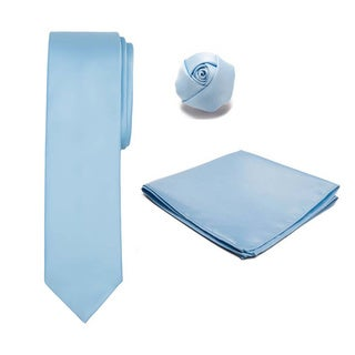 Boy's 3-piece Tie Hanky and Rose Lapel Set