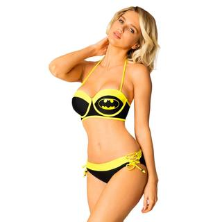 Batman Women's Black and Yellow Trim Lycra Underwire Bikini