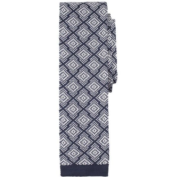 Navy White Silk Flat Diamond Check Pattern Knit Tie