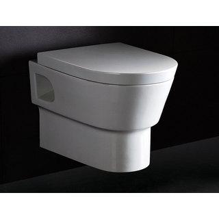 EAGO WD332 Round Modern White Porcelain Wall Mount Dual-flush Toilet