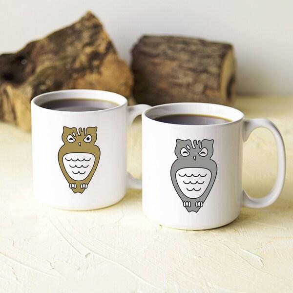 Off-white Ceramic 20-ounce Owl Coffee Mug Set