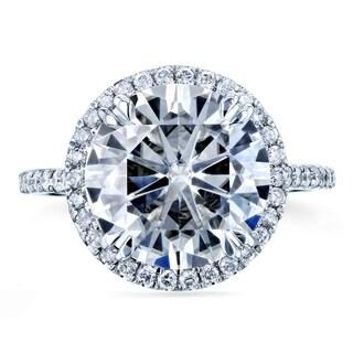Annello 14k White Gold 4 3/4ct Round Moissanite and 2/5ct TDW Diamond Halo Ring (G-H, I1-I2)