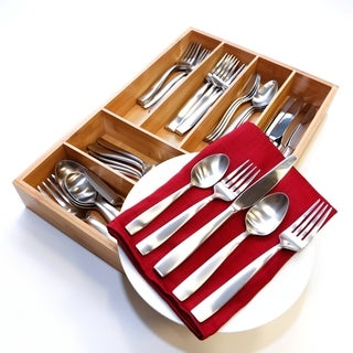 Oneida Everdine Stainless Steel 65-Piece Flatware Set with Bamboo Storage Caddy