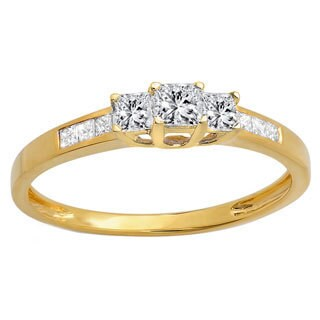 10k Yellow Gold 1/2ct TDW Princess-cut Diamond 3-stone Bridal Engagement Ring (I-J, I1-I2)