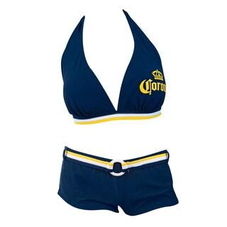 Corona Extra Women's Blue Lycra Push-up Halter Boy-short Banded Bikini