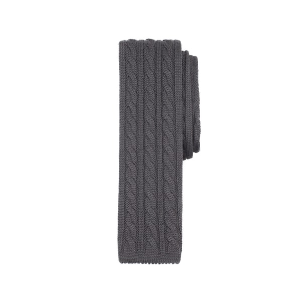 Solid Grey Cable Knit Wool Necktie