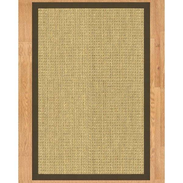 Handcrafted Montes Natural Seagrass Runner Rug with Light Brown Binding(2'6 x 8')
