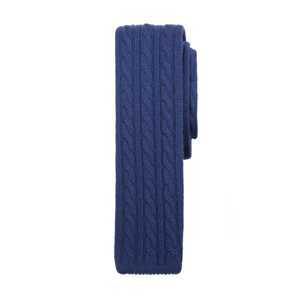 Men's Navy Blue Cable Knit Wool Tie