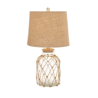 Benzara Fascinating Nautical Style Glass and Rope Rotable Lamp