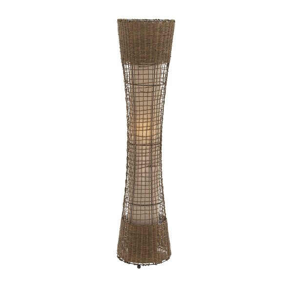 Benzara Natural Finish Metal Rattan Floor Lamp